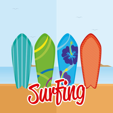 surfboards: Set of surfboards with different designs on the beach Illustration