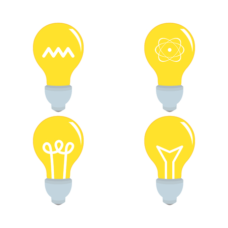 lightbulbs: Set of lightbulbs with icons on a white background