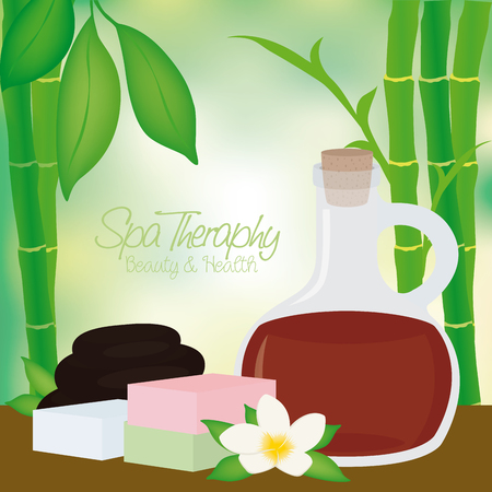 group therapy: Colored background with text, bamboo and some spa objects as soaps and a flask of lotion