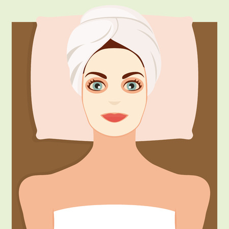 towels: Colored background with a woman with towels and a pillow