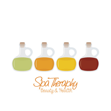 massage symbol: Set of flasks of lotions on a white background with text