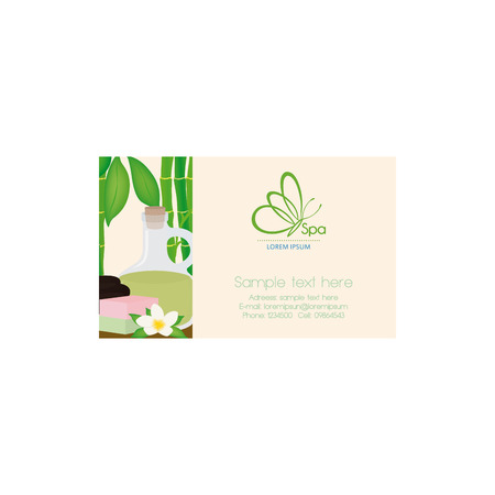 spa objects: Isolated spa business card with some spa objects, a butterfly icon and text Illustration