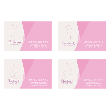 beauty care: Set of cards with text and sketches of different women bodies