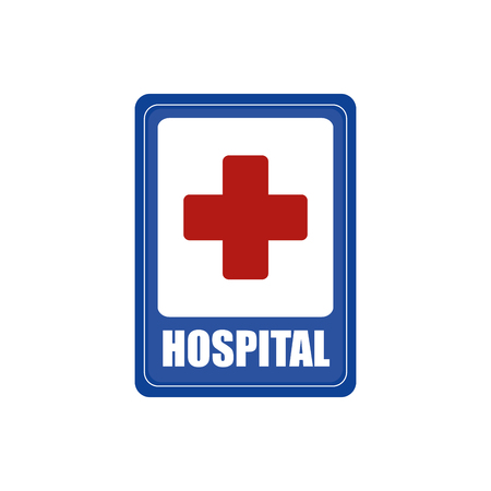 hospital icon: Isolated blue transit signal with a hospital icon