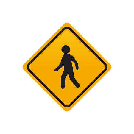 pedestrian: Isolated yellow transit signal with a pedestrian icon