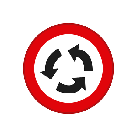 transit: Isolated red transit signal with a recyclable icon Illustration