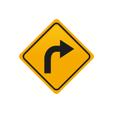 turn yellow: Isolated yellow transit signal with a turn right icon Illustration