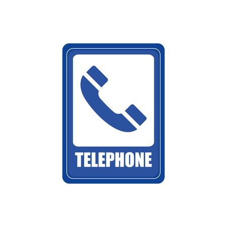transit: Isolated blue transit signal with a telephone icon Illustration