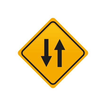 transit: Isolated yellow transit signal with a pair of black arrows Illustration