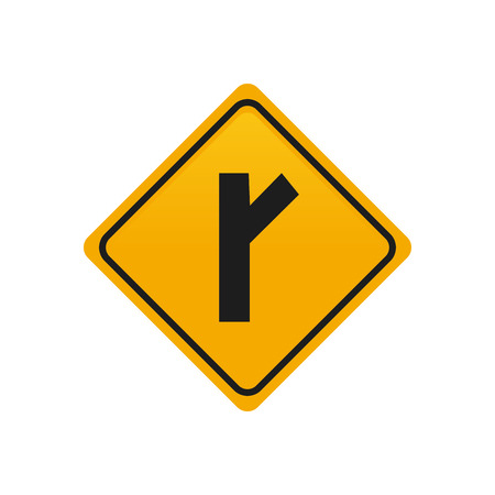 transit: Isolated yellow transit signal with a black road icon