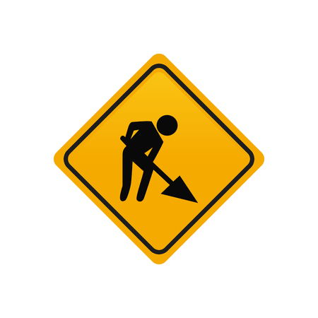 transit: Isolated yellow transit signal with a person working icon