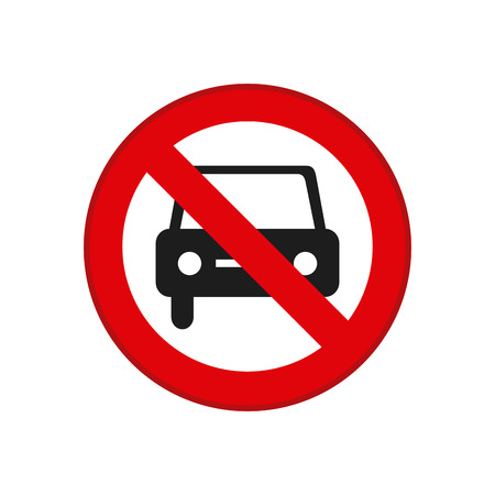 transit: Isolated red transit signal with a car prohibition Illustration