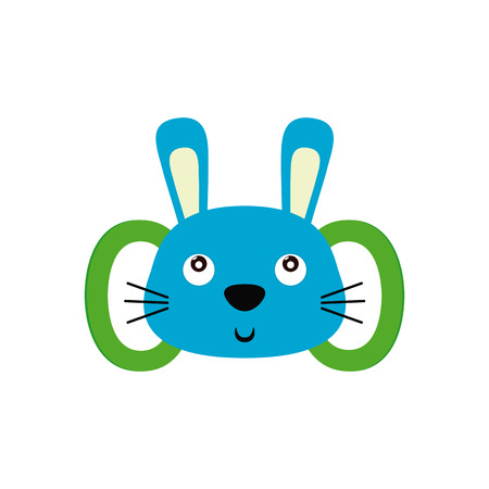 lapin silhouette: Isolated baby toy with a rabbit shape on a white background
