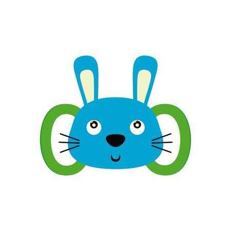 lapin silhouette: jouet de b�b� isol� avec une forme de lapin sur un fond blanc