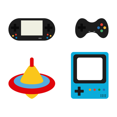 spin: Set of videogames consoles, joysticks and a spin on a white background