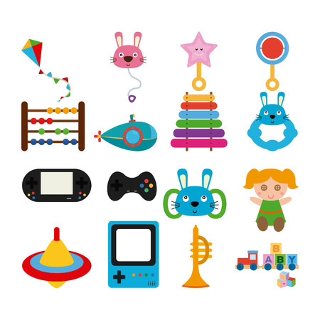 portable console: Set of different toys on a white background