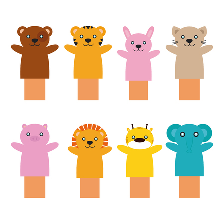 puppets: Set of different toy puppets on a white background Illustration