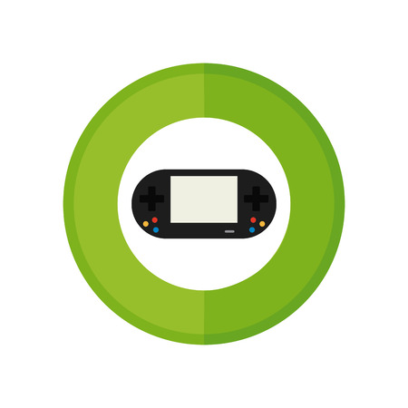 videogame: Isolated sticker with a videogame console on a white background