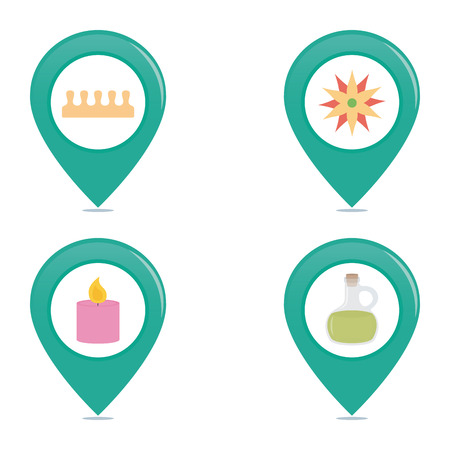 therapy group: Set of pins with different spa icons on a white background Illustration