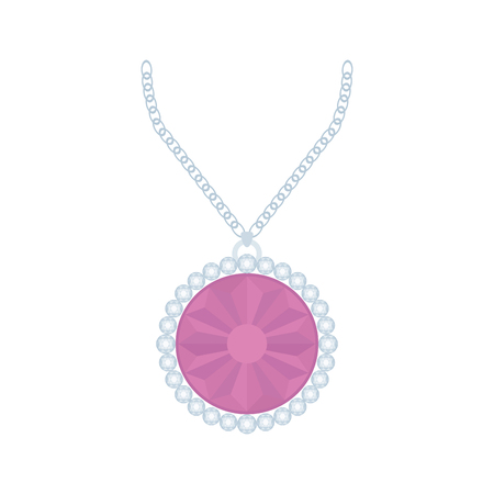 jewel: Isolated necklace with a light purple jewel on a white background