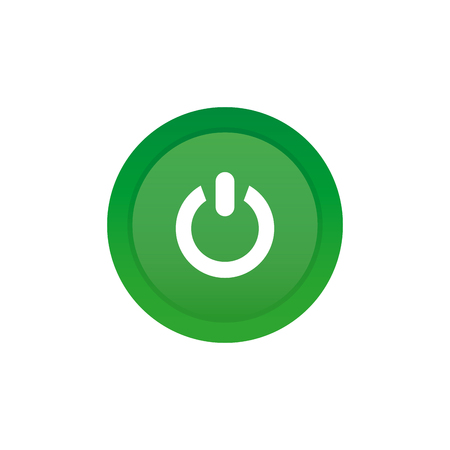 green power: Isolated green sticker with a power icon on a white background