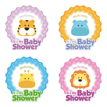 Conjunto de pegatinas con el texto y los iconos diferentes para las duchas del bebé Ilustración de vector