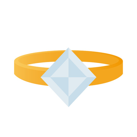 blue diamond: Isolated ring with a light blue diamond on a white background