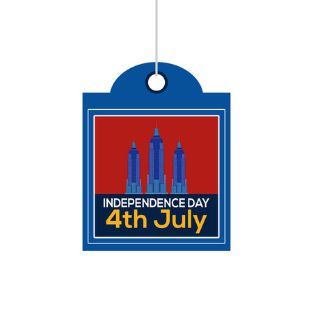empire state: Isolated label with text and silhouettes of the empire state for independence day celebrations Illustration