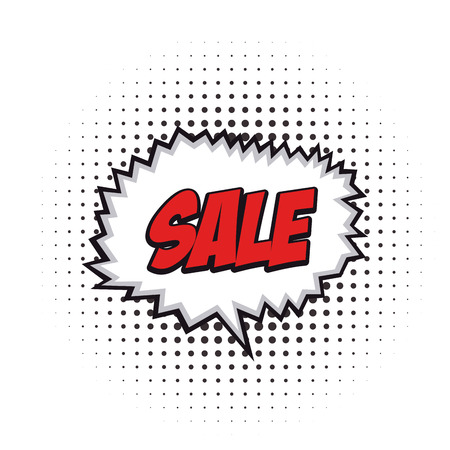 onomatopoeia: Isolated sale comic expression on a white textured background