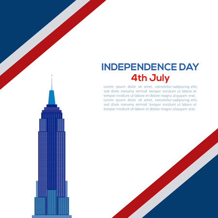 empire: Colored background with text and a silhouette of the empire states for independence day celebrations