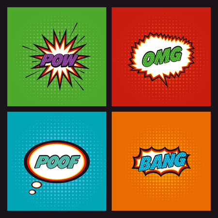 textured backgrounds: Set of comic expressions on different textured backgrounds Illustration