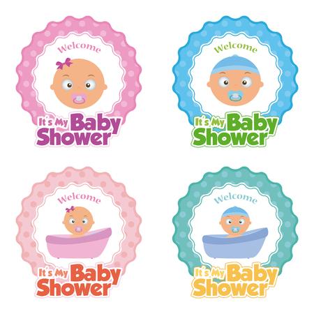 Set d'autocollants avec le texte et des icônes différentes pour les douches de bébé