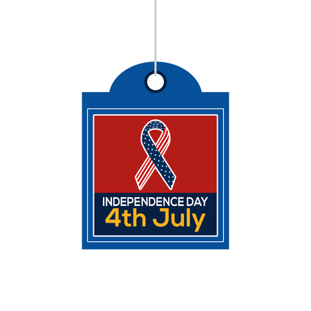 peace label: Isolated label with text and a peace symbol for independence day celebrations