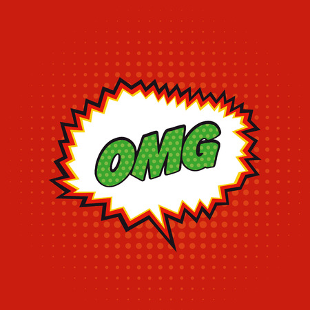 onomatopoeia: Isolated comic expression with text on a red textured background Illustration