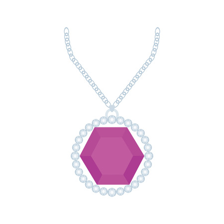 jewel: Isolated necklace with a purple jewel on a white background Illustration