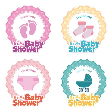 bebes niñas: Conjunto de pegatinas con el texto y los iconos diferentes para las duchas del bebé