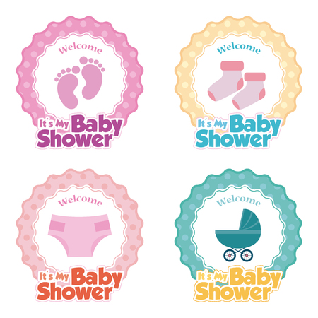 Set of stickers with text and different icons for baby showers