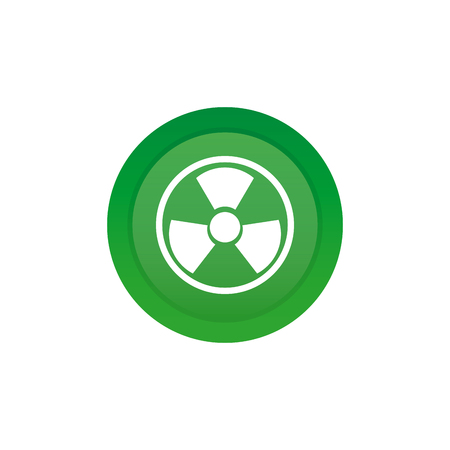 nuclear icon: Isolated green sticker with a nuclear icon on a white background