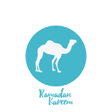 Isolated blue button with a silhouette of a camel for ramadan kareem celebrations