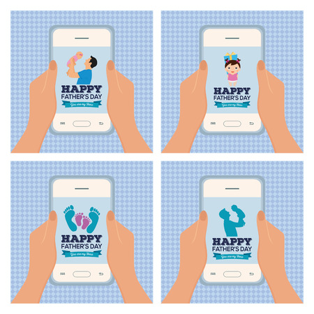 textured backgrounds: Set of textured backgrounds with pairs of hands holding cellphones with different icons Illustration