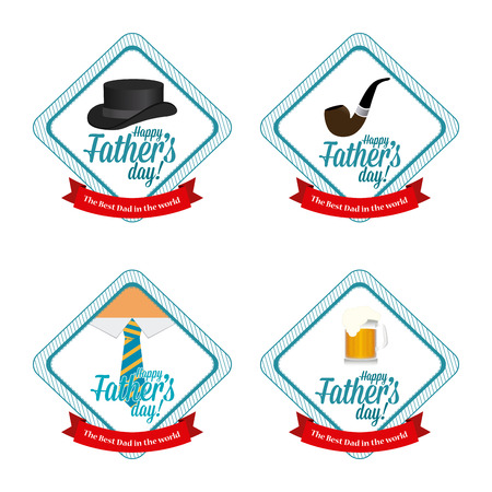 necktie beer: Set of stickers with ribbons with text and different icons for fathers day celebrations Illustration