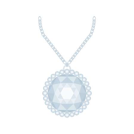 diamond necklace: Isolated necklace with a diamond on a white background