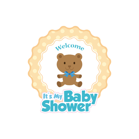 baby bear: Isolated sticker with text and a baby teddy bear icon
