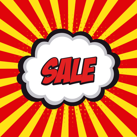 onomatopoeia: Isolated sale comic expression on a colored striped background