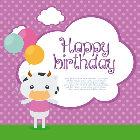 cute cow: Isolated cute cow with balloons on a textured background Illustration