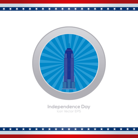 empire: Isolated blue banner with a silhouette of the empire states for independence day celebrations