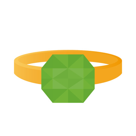 jewel: Isolated ring with a green jewel on a white background