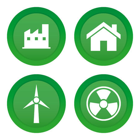 clean energy: Set of green stickers with different clean energy icons Illustration