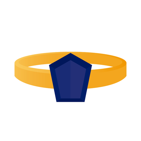 jewel: Isolated ring with a blue jewel on a white background
