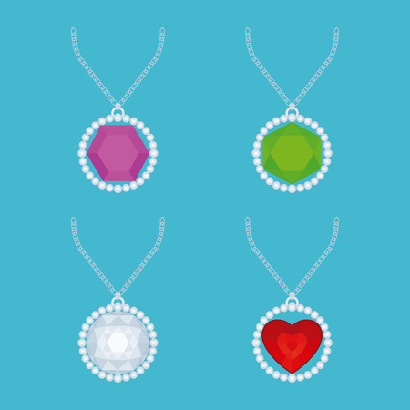 necklaces: Set of necklaces with different jewels on a blue background